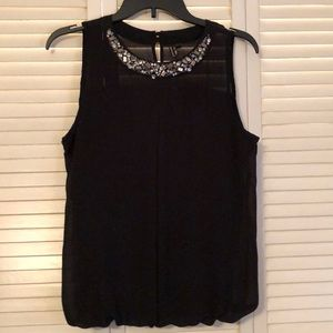 Heartsoul Black Blouse with Jeweled Neckline